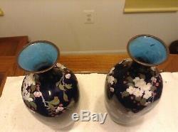 Pair Of Large Japanese Meji Cloisonne Vases