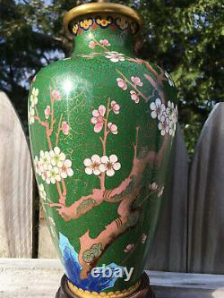 Pair Vintage Chinese Or Japanese Asian Cloisonne Enamelled Vases Lamps Blossoms