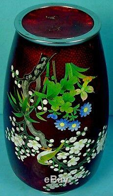 Pair Vintage Japanese Akasuke Silver Wire Cloisonne Enamel Cherry Blossom Vases