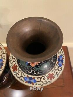 Pair of Antique Japanese Meiji Cloisonne Vases