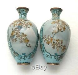 Pair of Antique Japanese Meiji Period Powder Blue & Grey Cloisonne 6 Vases
