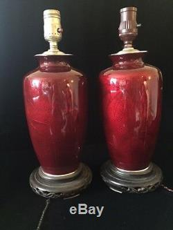 Pair of Antique Japanese Pigeon Blood Cloisonne Table Lamps/Vases