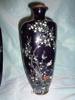 Pair of Antique Japanese cloisonne vases artist signed, Meiji Period