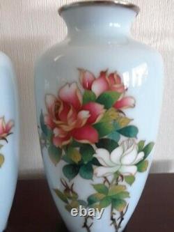 Pair of Beautiful Pale Blue Rose Motif 7 Tall Antique Japanese Cloisonne Vases