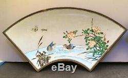 Pair of Japanese Meiji Silver Wire & Wireless Cloisonne Plates