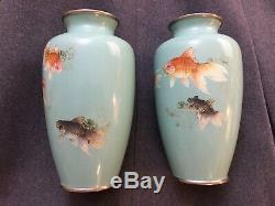 Pair oriental Japanese Chinese antique fantail koi turquoise cloisonne vases