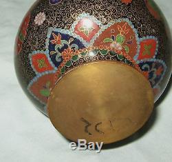Pr Fine Antique Japanese Cloisonne Vases Bottle Form