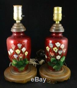 Pr. Vintage Japanese Cloisonné Floral Vases (now Lamps). C. 1930s. 12 1/8 t