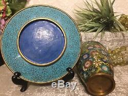 RARE! Antique OLD JAPANESE CLOISONNE ENAMEL MILLEFLEUR 7 PLATE & 6 Vase