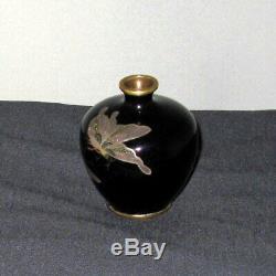 RARE Fine Beautiful Miniature Meiji Japanese Cloisonne Enamel Vase Signed MIWA