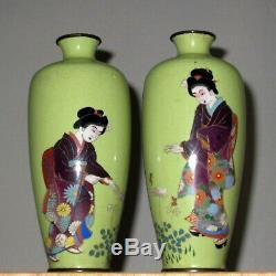 RARE Pair Meiji Early Japanese Gold /Silver Wire Cloisonne Enamel Vases -Geishas