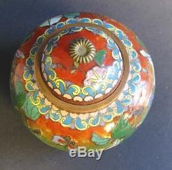 Rare 19th C. Meiji Japanese Cloisonne & Foil Lidded Vase c. 1890 MINT antique
