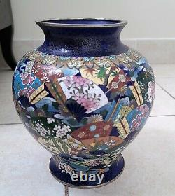 Rare ANTIQUE JAPANESE CLOISONNE silver wired VASE