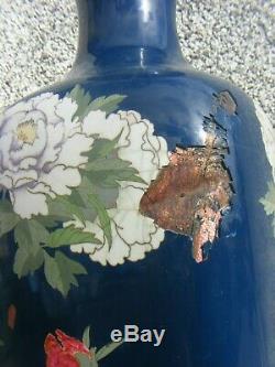 Rare Antique Cloisonne Vases Japanese Large 24 Inches