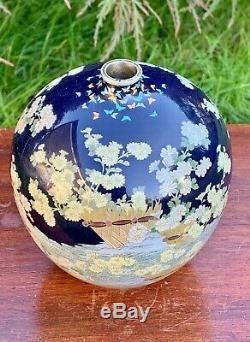 Rare Antique Japanese Cloisonne Vase Meiji Period Kumeno Teitaro Stunning Decor