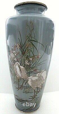 Rare Antique Japanese Meiji Cloisonne Enamel Gray Crane Signed 12 Large Vase