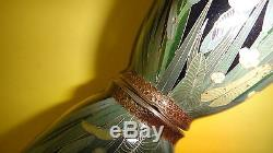 Rare Antique Meiji Japanese Silver Wire Cloisonne Miniature Vase Iris Flowers