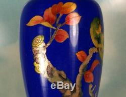 Rare & Gorgeous Japanese Ginbari Cloisonne Vase with Gold Gilded Enamel