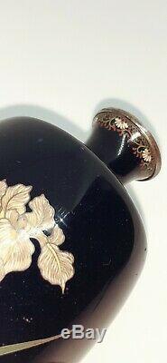 Rare Important Japanese Cloisonne Vase Signed Silver Tablet Kin Unken Zo Meiji