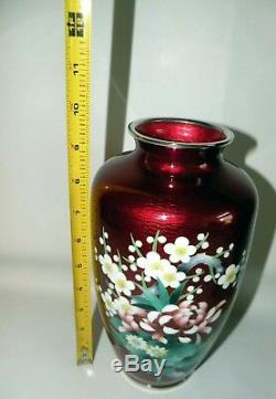 Rare Japanese Ando Cloisonne Pigeon Blood Red Vase with Original Box and Papers