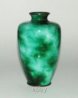 Rare Japanese Cloisonne Eanamel Vase With Wireless Jade Coloration PIB