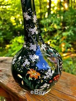 Rare Japanese Meiji Antique Cloisonne Vase Silver Based