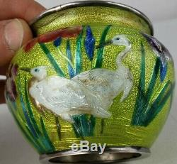 Rare Japanese Sterling Silver Wireless Cloisonne Pot Raised Decoration By Gonda