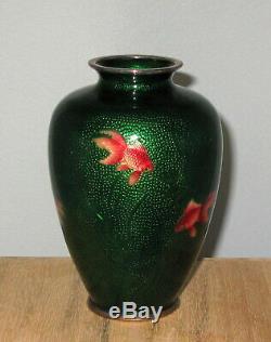 Rare Meiji Japanese Ginbari Baisse-Taille Ginbari Cloisonne Enamel Vase Ando