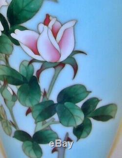 Rare Signed Ando Jubei Japanese Cloisonne Celadon Pink Roses Vase STUNNING