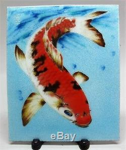 Rare Signed JAPANESE SHOWA-ERA Cloisonne Plaque on Copper with Koi