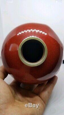 Rare tsuikki jippo uchidashi japanese cloisonne vase signed by Ogasawara Shuzo