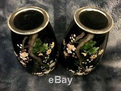 Retro Rare Pair Japanese Wireless Cloisonne Vase