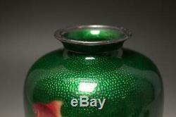 SVG04 Japanese Meiji era Goldfish Ando shippo cloisonne enamel vase pure silver