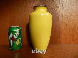 Sato Japan Cloisonne Vase Yellow & Flower Roses Large 8 1/2 inches Tall Japanese