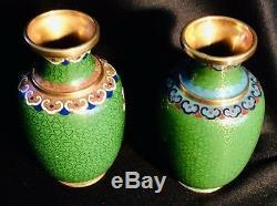 Set Of Small Japanese Cloisonne Vases Flowers Green 4 (1473)
