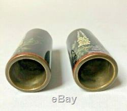 Signed 19th C Meiji Japanese Cloisonne Miniature Vases Pair Wisteria Design