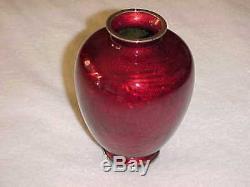 Signed Ando Meiji Era Japanese Akasuke Red Cloisonne Enamel Silver Dragon Vase