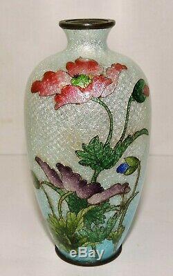 Signed Kumeno Teitaro Japanese Cloisonne Vase Poppy Flowers