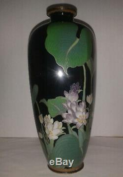 Signed by Mokugyo Temple Bell 7.5 Antique Japanese Cloisonne enamel vase Meiji