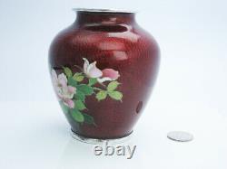 Silver Japanese Cloisonne Shippo Glass Enamel Red Floral Flower Vase Japan 85mm