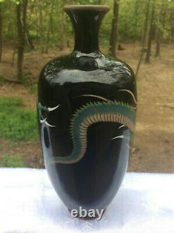 Stunning Japanese Cloisonne Dragon Vase With Stand