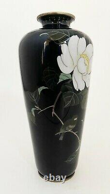 Stunning Japanese Cloisonne Enamel Vase with Flower and Bird Signed by Miwa