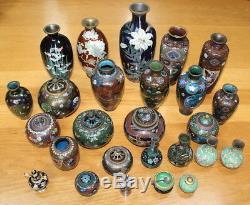 Stunning Meiji goldstone cloisonné vase! Flowers, trees, bird 7.5 FREE SHIPPING