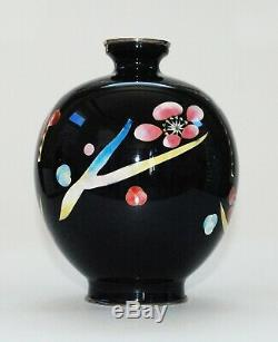 Stylized Japanese Cloisonne Vase with Bold Cherry Blossoms Design by Ando