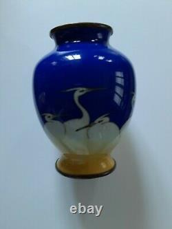 Superb Antique Japanese Cloisonne Vase Egrets Decoration