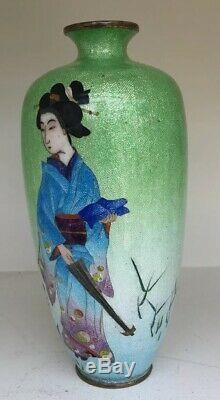 Superb Antique Japanese Ginbari Cloisonne Vase By Ota Toshiro. Geisha Girl