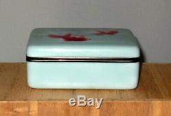 Superb Antique Japanese Wireless Cloisonne Enamel Box Vase with Koi