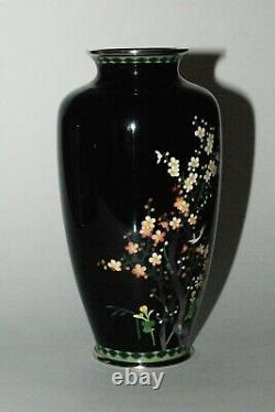 Superb Japanese Cloisonne Enamel Vase with a Bird in a Cherry Tree