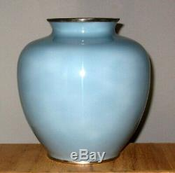 Superb Japanese Wire/Wireless Cloisonne Enamel Vase with Mt. Fuji Signed Tamura