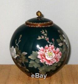 Superb Meiji Japanese Cloisonne Covered Jar Vase Butterflies Floral-Silver Wire